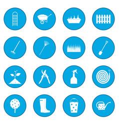 16 garden plain icon blue vector