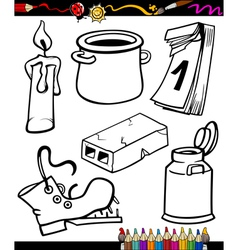 objects cartoon set for coloring book vector image