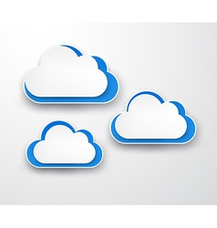 Paper white-blue clouds on grey vector