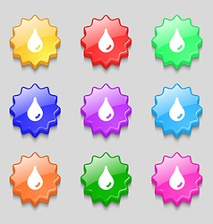 Water drop icon sign symbol on nine wavy colourful vector