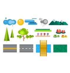 Landscape constructor icons set vector