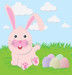 Easter bunny playful with painted eggs vector