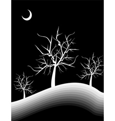 a hill with trees in moon light vector image