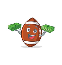 american football character cartoon with money vector image vector image