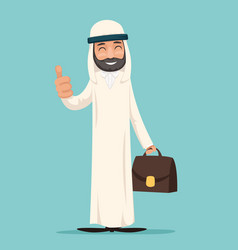 Arab smile thumb up like businessman character vector