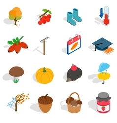Autumn icons set isometric 3d style vector image