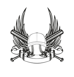 Ball in baseball cap and wings vector