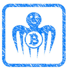 Bitcoin happy monster framed grunge icon vector