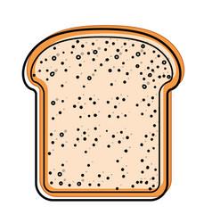 Bread slice in watercolor silhouette on white vector