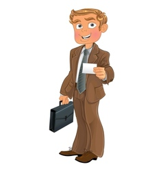 Businessman in brown suit with business card vector image