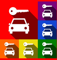 Car key simplistic sign set of icons with vector