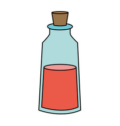 Color image cartoon small glass bottle essential vector