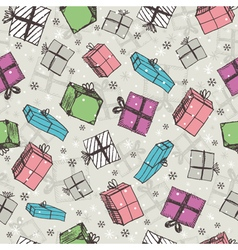 color seamless background with christmas gifts vector image