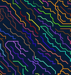 Colorful micro chip lines seamless pattern vector