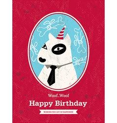 Cute bull terrier Dog Cartoon Birthday card design vector image vector image