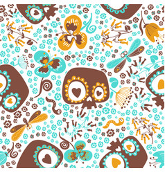 cute seamless pattern with silhouettes of cartoon vector image vector image