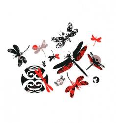 decorative dragonflies vector image
