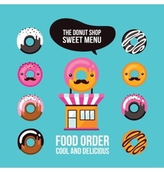 Donut icons delicious dessert food ordering cafe vector