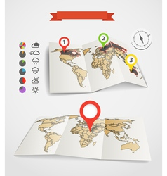 Earth maps set with weather icons vector image vector image