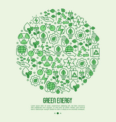 Ecology concept in circle with thin line icons vector