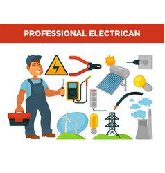 Electrician profession infographics poster vector
