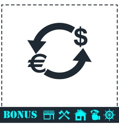 Exchange icon flat vector