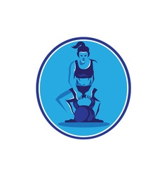 Female trainer lifting kettleball circle retro vector