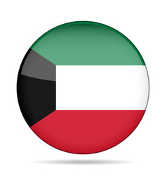 Flag of kuwait shiny round button vector
