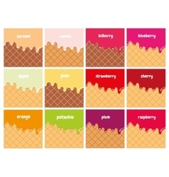 Fruit and berry syrup melted on wafer set vector image vector image