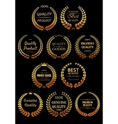 Golden laurel wreaths for Quality Guarantees label vector image