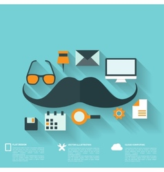 Hipster flat abstract background with web icons vector