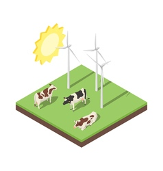 Isometric 3d of windmill and cows vector