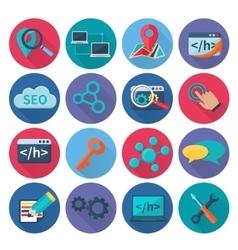 Seo marketing icons flat vector