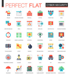 Set of flat cyber security icons vector
