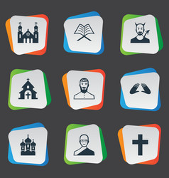 Set of simple faith icons elements orison temple vector