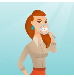 Woman examining her teeth with a magnifier vector