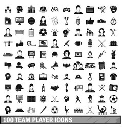 100 team player icons set simple style vector