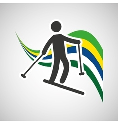Skiing sportsman flag background design vector