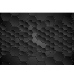 Abstract black background with hexagons texture vector