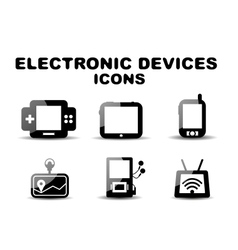Black glossy electronic devices icon set vector