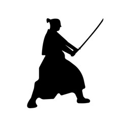 samurai warriors silhouette with katana sword vector image