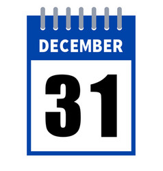 31 december calendar in a flat design isolated on vector