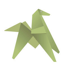 Green origami of dog or horse isolated on white vector