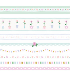 Ribbon lace garland set shabby shic design vector