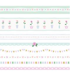 Ribbon lace garland set shabby shic design vector