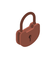 Old lock isolated big padlock on white background vector