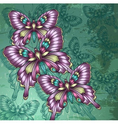 decorative butterflies and green grungy background vector image