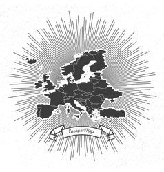 Europe map with vintage style star burst retro vector