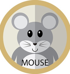 Cute grey mouse cartoon flat icon avatar round vector