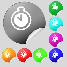 The stopwatch icon sign set of eight multi colored vector